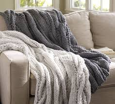 Knit Throw Blanket Chunky Cable Handknit Throw Pottery Barn Home