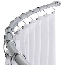 Curtain Rod Extender Home Depot by Bathroom Glamorous Brushed Nickel Curved Shower Curtain Rod With