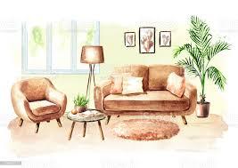 modernes wohnzimmer mit sofa und möbeln aquarell handgezeichnete illustration stock vektor und mehr bilder anzünden