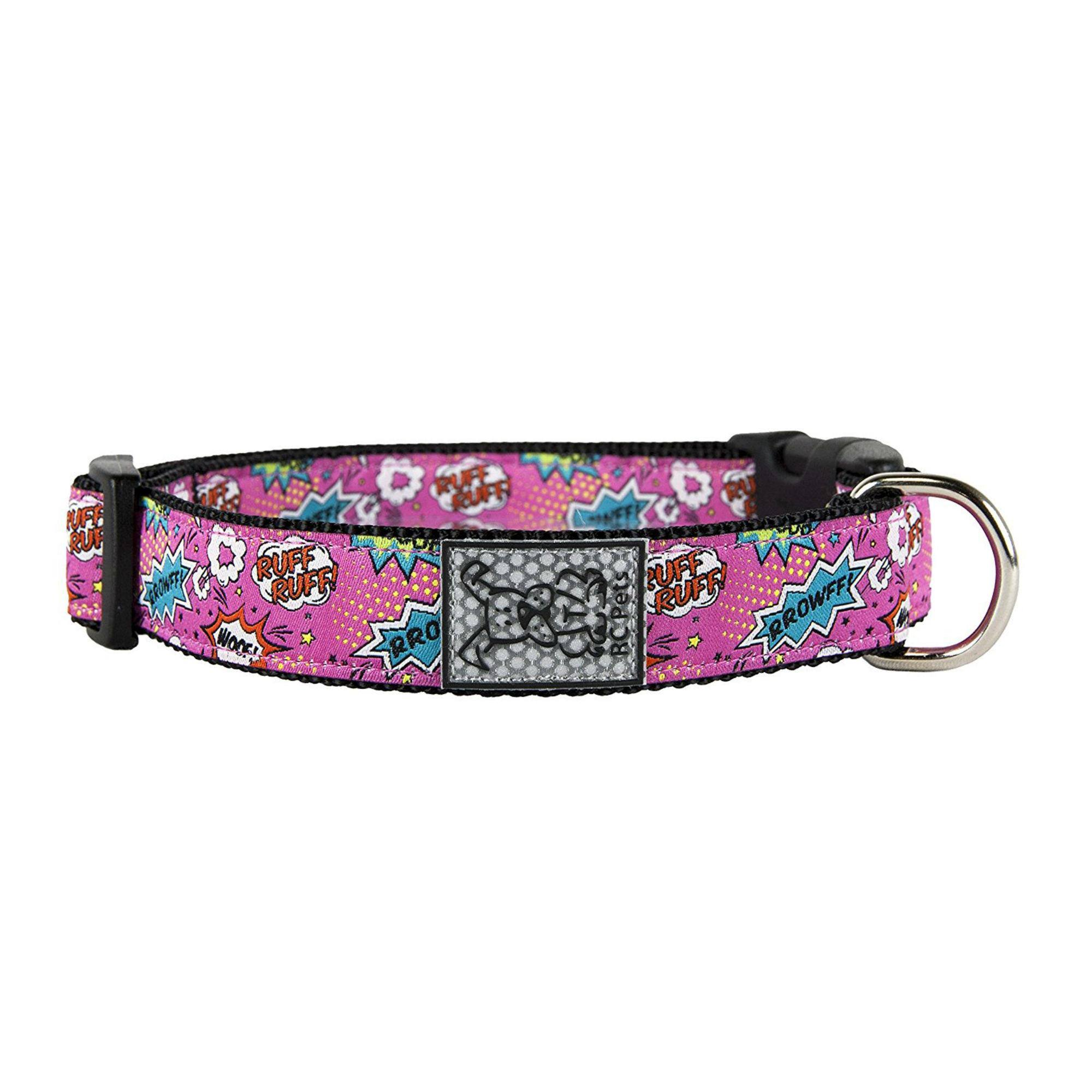 Pink Comic Sounds Adjustable Clip Dog Collar by RC Pet - Medium
