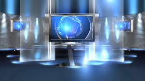 Free Virtual News Studio Background Set Blue Long HD