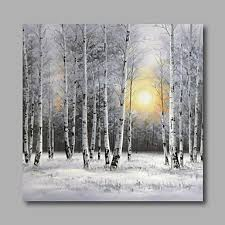 Ready To Hang Stretched Hand Painted Oil Painting Canvas Wall Art Silver Birch