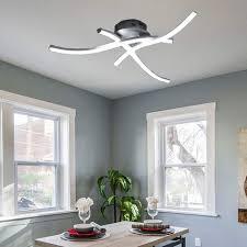 moderne led deckenleuchte gebogen moderner kreativer kronleuchter mit 3 pcs wellenform lichtköpfen für wohnzimmer schlafzimmer esszimmer 28w 3