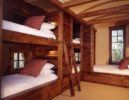 decorating kids bedroom with wooden bunk bed home interior