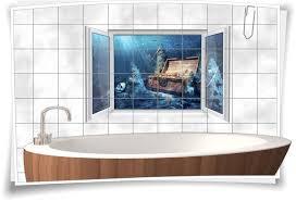 fliesenaufkleber fliesenbild fenster unter wasser piraten schatz truhe bad wc fliesen