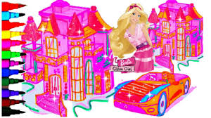 BARBIE Coloring Book Pages Barbie Glam Girl In Malibu Kids Fun Art Activities Balloons Toys