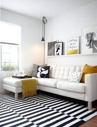 View In Gallery Black And White Living Room With Elegant Pops Of Yellow Design Studio Revolution
