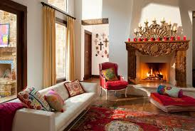Living Room With Fireplace And Bay Window by Cool Fireplace Candelabra In Living Room Southwestern With Bay