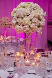 Tall White Wedding Centerpieces Roses Hydrangeas With Crystals