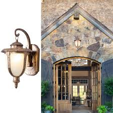 Outdoor Wall Light Fixtures Rustic Oil Rubbed Gloden Waterproof AntiRust Lightings With Glass Shade Retro Iron Exterior Wall Sconces For Porch