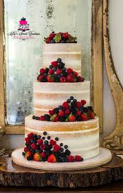 Bayley Garrett Rustic Semi Naked Wedding Cake With Fruits Delievred To