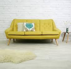 vintage retro mid century mustard danish style sofa settee 1950s
