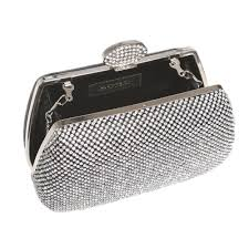 sparkly evening hard case clutch bag with chain strap