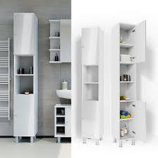 vicco badschrank fynn 190 x 30 cm weiß hochglanz badezimmerschrank hochschrank schrank badregal