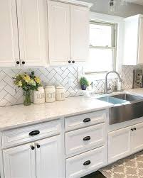 White Cabinet With Black Hardware Inspiring Farmhouse Kitchen Sink Ideas Tile Pictures