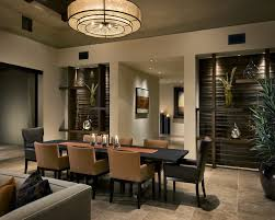 Wide Brown Ceiling Lamp For Stylish Dining Room Interior Design With And Black Chairs