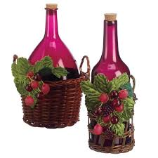 Wine Bottle In Basket Christmas Ornament Set Of 2