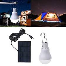 rechargeable 15w led light bulb w external solar panel stealth