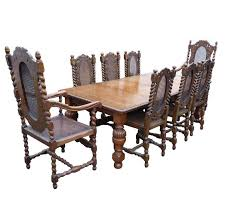 Victorian Solid Oak Dining Table And Eight Chairs For Sale