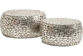 kare design couchtisch pebbles deluxe silber 2 set