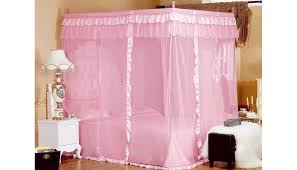 Queen Canopy Bed Curtains by Amazon Com Pink Princess 4 Corners Post Bed Curtain Canopy
