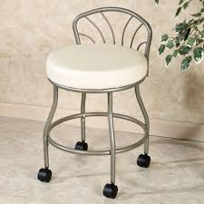 Silver Steel Vanity Chair With Back And Black Wheels Plus Round White Seat Cushion On Ceramics Flooring Awesome Ideas Of For