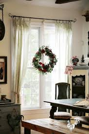 Tablecloths For Curtains Two 199 At The Christmas Tree Shop And A Gorgeous Holiday Wreath Hung In Window From Depot Giveaway