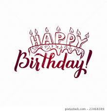 Happy Birthday Greeting Card Hand Lettering Stock Illustration