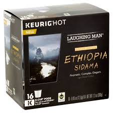 Laughing Man Keurig Hot Ethiopia Sidama Light Roast Coffee K Cup Pods 45 Oz 16 Count