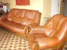 canapé cuir et bois rustique achetez canape 3 places occasion annonce vente à graulhet 81