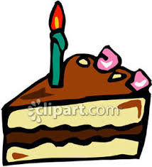 Piece of Chocolate Cake with a Candle Royalty Free Clipart Picture