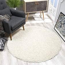 sanat teppich rund creme hochflor langflor modern teppiche fürs wohnzimmer schlafzimmer esszimmer oder kinderzimmer größe 120x120 cm
