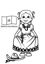 Beautiful Mexican Girl Dress Coloring Pages