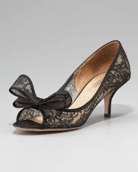 Black Dress Shoes For Women Matched With Floral Lace Decoration And Ribbon Accent Beautify High Heel