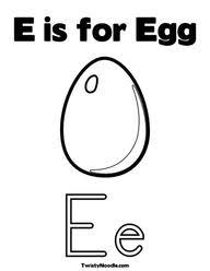 E Is For Egg Coloring Page From TwistyNoodle
