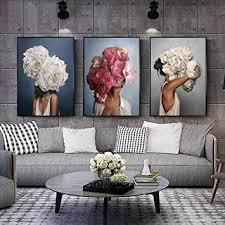 cnhnwj abstrakte leinwandbild blumen federn frau wandbilder kunstdruck poster bild dekor modernes wohnzimmer schlafzimmer zimmer deko 50x70cmx3