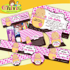 Kit Imprimible Baby Shower Tarjetas Candy Bar Tarjetas 2 2499