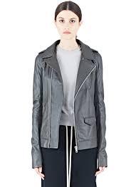 rick owens women u0027s stooges long leather jacket in dark dust in