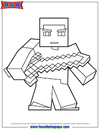 Herobrine With Sword Coloring Page Minecraft Pages On Steve
