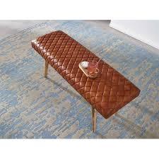 wohnling sitzbank echtleder massivholz bank 115x53x38 cm 2er polsterbank flur esszimmer braun kleine bettbank leder dielenmöbel flurbank
