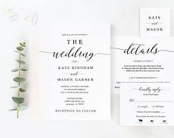 Printable Wedding Invitation Template Set DIY Cards Download Modern