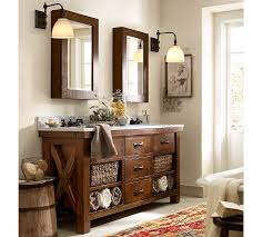 Pottery Barn Bathroom Accessories by Benchwright Double Sink Console Rustic Mahogany Finish Pottery