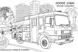 Coloriage à Dessiner Camion Pompier Gratuit