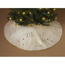 Sale 48 Inch Merry And Bright White Gold Tree Skirt