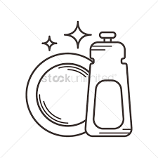 Dishwasher Detergent And Plate Vector Graphic