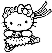 Hello Kitty Cute Ballerina Coloring Pages