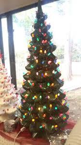 35 Elegant Ceramic Christmas Tree In Green With Multi Bulbs 2 LED Bulb Set