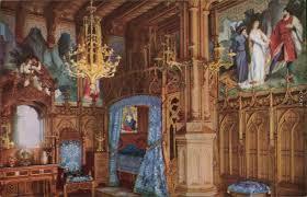 ansichtskarte schwangau schloss neuschwanstein schlafzimmer 1930