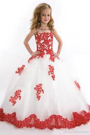 kids ball gowns pageant girls dresses white tulle red lace flowers