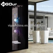 wooden shower wall panels stainless steel with led lights bs 6921